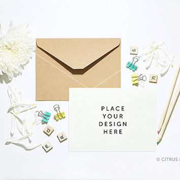 Card, Invitation Mock Up - Styled Stock Photography - White Chrysanthemum and Blank Landscape Card on White Desktop