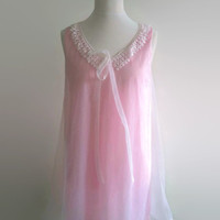 Baby pink vintage nightgown - 1960s swishy babydoll - pale pink nylon nightdress -  60s lace trim night gown