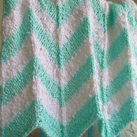 Knit Baby Blanket White Mint Green Stroller Carseat Chevron Striped Retro Mod 26X25