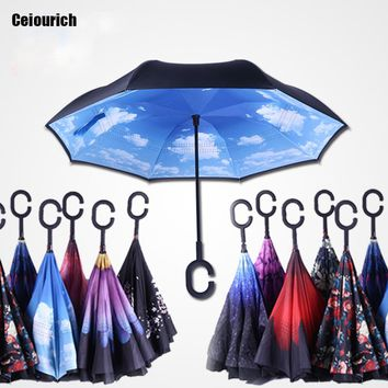 Ceiourich Popular Business type Double Layer Car Reverse Umbrellas With Pothook Women Men Windproof UV Protection Umbrellas-001