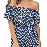 Blue and White Chevron Romper