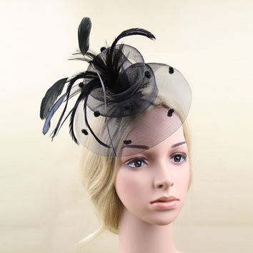 Elegant Wedding Ascot Races Party Fascinator Veil Net Hat and Feathers