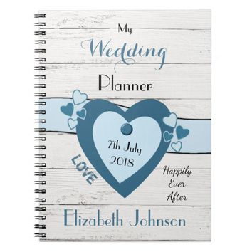Rustic Wedding planner Notebook blue and black