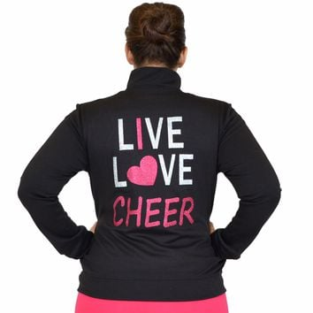 Plus Size Rayon Live Love Cheer Warm Up Jacket