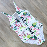 Floral Print One Piece Swimsuit Swimwear Bodysuit Monokini Bathing Suits