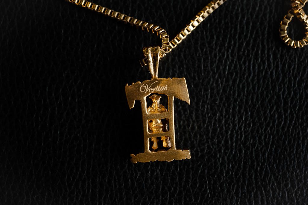 Veritas deathrow pendant w chain gold from sneakerpolitics veritas deathrow pendant w chain gold aloadofball Choice Image