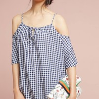 Gingham Open-Shoulder Blouse
