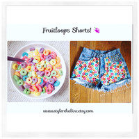 Fruitloops Shorts. Golden studs. Medium Size USA 8. Hipster cereal shorts. Popular on fashion blogs and style. Vintage  highwaisted