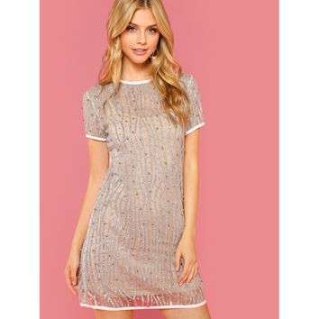 Silver Round Neck Short Sleeve Tunic Dress