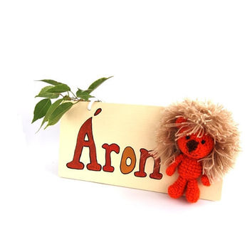 custom name sign LION, personalized door name sign, green, children's room decor, nursery decoration, jungle door art, wooden door plaque