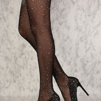 Sexy Black Nylon Thigh High Rhinestone High Heels Boots