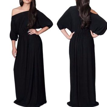 Women's Black BOHO Flowy Off the Shoulder Long Maxi Dress with Tie