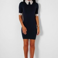 Danica Navy Lace Detail Bodycon Mini Dress | Pink Boutique
