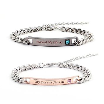 "Game of Thrones Bracelets ""Moon of My Life"" "" My Sun and Stars"" Couple Bracelets Crytal Stone Lover Bracelets For Women Men"