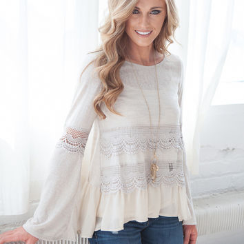Chandelier Crochet Inset Ruffle Top - Light Taupe