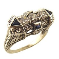 Art Deco Style Sterling Silver Filigree Cubic Zirconia & Sapphire Ring (sz7)