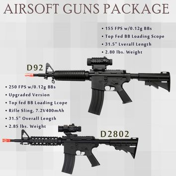 2 Pc WELL D2802 M4 + M83a2 M4 M16 CQB RIS Electric Airsoft Gun Full Auto FPS-250