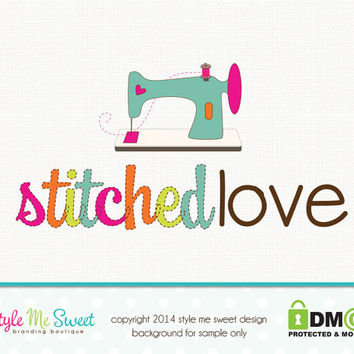 Premade Sewing Logo Sewing Machine Logo Design Hand Drawn Small Business Logo Watermark Design