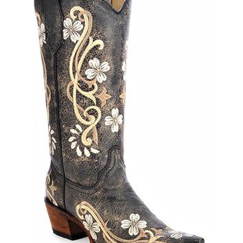 Circle G Women's Floral Embroidered Cowgirl Boot Snip Toe