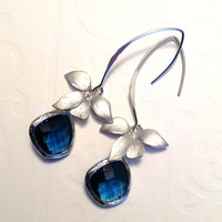 Silver 925 dangle earrings Spring fashion Framed sapphire glass on marquise and orchid earrings  Bridesmaid earrings