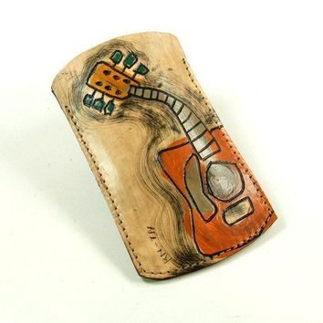 Leather Case for Iphone Itouch ipodcover Guitar man by rntn
