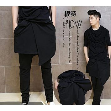 Avant Garde Men's Fashion Harem Pocket Layered Diagonal Skirt Black Culottes Pants Mens Clubwear Drop Crotch Cross Pants Costume