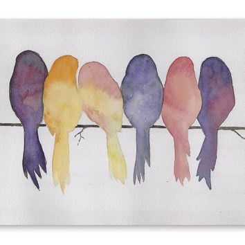 BIRDS ON A WIRE Premium Canvas Gallery Wraps By Jayne Conte