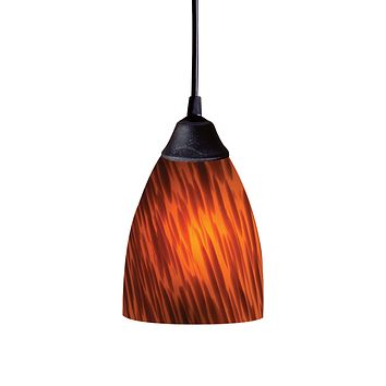 406-1ES-LED Classico 1 Light LED Pendant In Dark Rust And Espresso Glass - Free Shipping!