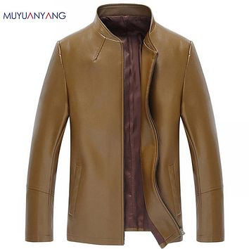 Man Leather Jackets Solid Casual Leather Men Leather Jackets And Coat  Fur Clothing