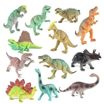 """BOLEY (12 Pack) 9"""" Educational Dinosaur Toys - Kids Realistic Toy Dinosaur Figures for Cool Kids and Toddler Education! (T-rex, Triceratops, Velociraptor, etc) Great Gift Set and Party Favors!"""