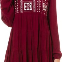 ANGIE LONG SLEEVE EMBROIDERED DRESS