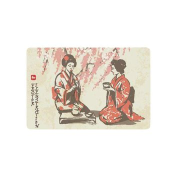 Autumn Fall welcome door mat doormat Traditional Japan Girls Having Tea Anti-slip  Home Decor, Spring Oriental Cherry Blossom Branches AT_76_7