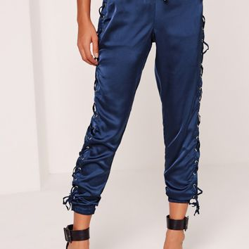 Missguided - Satin Lace Up Side Jogger Blue
