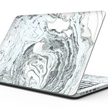 Mixtured Mint and Gray v3 Textured Marble - MacBook Pro with Retina Display Full-Coverage Skin Kit