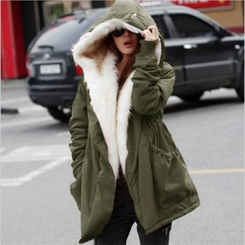 Red/Blue 2015 New Winter Wool Jacket Women Coat Warm Casual Girls Outwear Ladies Overcoat Fur Collar Down&Parkas Plus Size Z158
