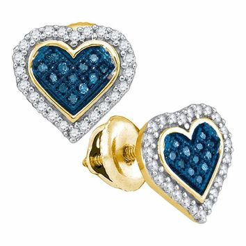 10kt Yellow Gold Women's Round Blue Color Enhanced Diamond Heart Love Stud Screwback Earrings 1-4 Cttw - FREE Shipping (USA/CAN)