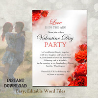 Valentines Day Party Invitation - Printable Valentines Invitation Valentines Day Card - Red Roses Invitation Editable Template Download DIY