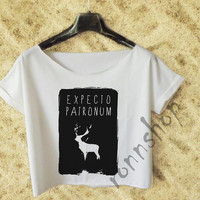 EXPECTO PATRONUM Crop Tee Shirt woman, Harry Potter Shirt White TO55