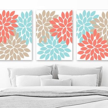 Coral Aqua Beige Flower Wall Art Canvas or Prints  Coral Aqua Beige Bedroom Artwork, Flower Bathroom Decor, Set of 3 Home Decor Pictures