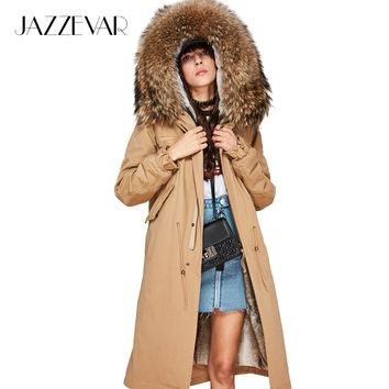 JAZZEVAR New high Fashion Women's X-Long parka large real racoon fur Hooded Coat Outwear natural color Military Winter Jacket