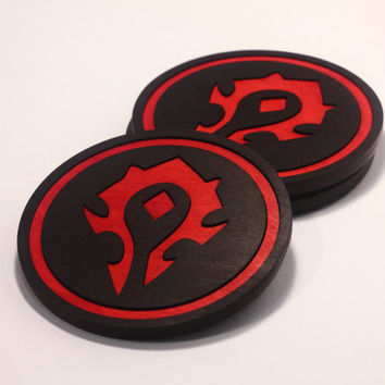 Custom Wood Coasters, World of Warcraft, Horde, For the Horde, home decor, gift under 10, mens gift, WoW, cup of tee, Horde, Azeroth - 1pcs