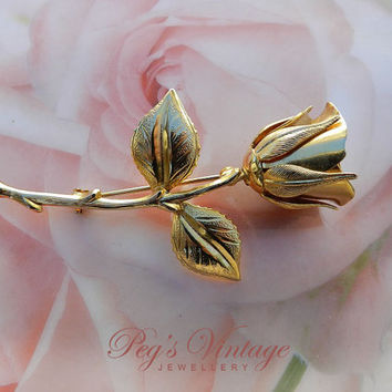 Vintage Yellow Gold Tone Single Floral Rose Brooch//Flower Rose With Leaves Brooch//Pin Costume Jewelry