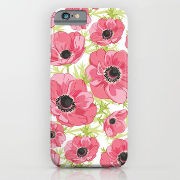Pink Anemones iPhone & iPod Case by Lents
