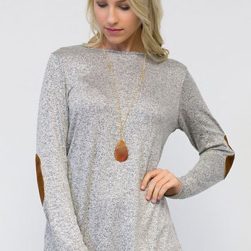 Quilted Elbow Patch Long Sleeve Top