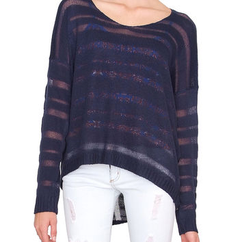 Sheer Line Sweater Top - Indigo Blue