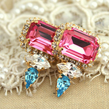 Rhinestone stud earrings Pink aqua white classic jewelry - 14k Gold plated Swarovski earrings.