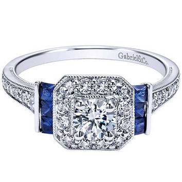 "Gabriel ""Daisy"" Cushion Shaped Diamond and Blue Sapphire Accent 14K White Gold Diamond Engagement Ring"