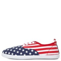 Red Combo American Flag Print Canvas Sneakers by Charlotte Russe