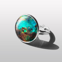 RING Jewelry Turquoise Nebula Galaxy Adjustable Ring. Gift for Women (Mum) and Girls (sister).
