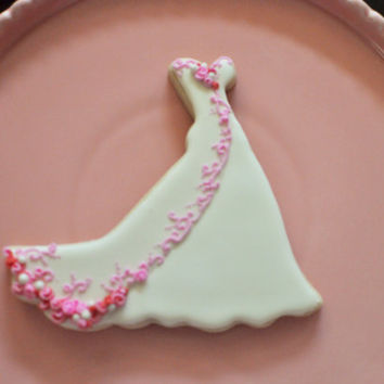 Wedding Dress Cookies- 6 PIECES , Embroidered  Wedding Gown Cookies,  Bridal Shower Cookies, wedding gown cookies